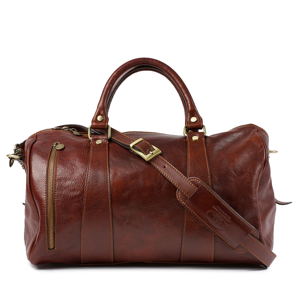 Leather Travel Bag Michelangelo Brown Ponte Vo By Original Tuscany Made In Italy