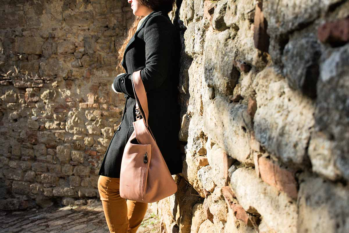 Millemodi leather bag pink - Volterra Italy